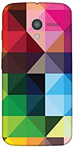 Snoogg Colorful Rhombuses Case Cover For Moto-X / Motorola X