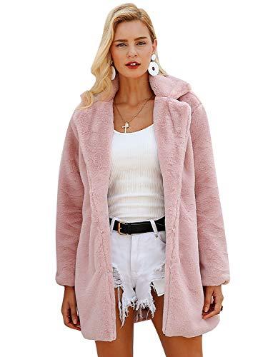 Terryfy Damen Pelz Mantel Elegant Lang Warm Fellmantel Winter Fur Coat Jacke (44, Rosa)