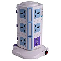 Vertical Power Socket Multi-function Plug Universal Socket/4 USB/ 3m long extension/charge