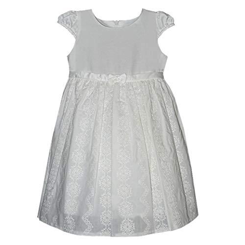 Baby Mädchen Kleid Festlich Taufe Party Hochzeit Baumwolle mit Seide Ivory Creme Größe 68