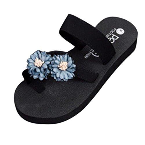Wawer Damen Sandalen Slipper Flip-Flops Strand Schuhe Indoor Outdoor Bad (36-40) Schuhe Absatzhöhe: 3cm Wasserdichtes Taiwan: 2cm (Grau, 38)
