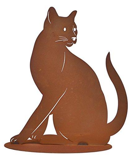 Katze Metall Edelrost Deko Garten Katzen Tier Figur Skulptur Kater Statue
