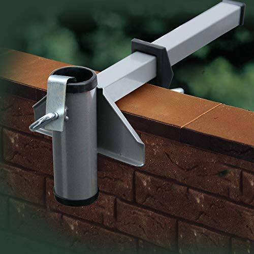 Videx Sonnenschirmhalter Balkon-Mauerbrüstung Aluminium-farbig, Ø Schirmstock bis 40 mm, sehr stabil, Sonnenschirm Halterung Balkonbrüstung, Balkonmauer