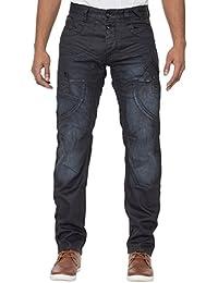 ETO EM459 Men's Designer Dark Navy Coated Regular Fit Tapered Leg Jeans