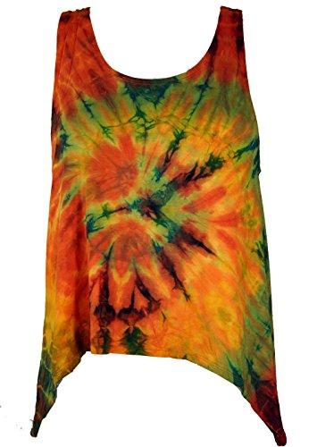Guru-Shop Batik Hippie Top, Tank Top, Damen, Orange/Bunt, Synthetisch, Size:40, Tops, T-Shirts, Shirts Alternative Bekleidung (Hippie Shirt Top)