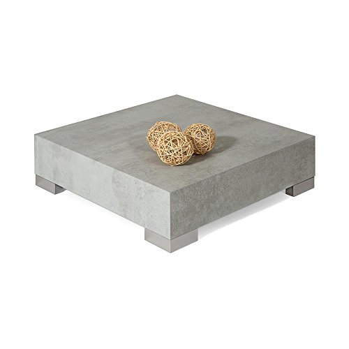 MOBILIFIVER Icube 60 Table Basse, en Bois, 60 x 60 x 18 cm - Coloris Ciment
