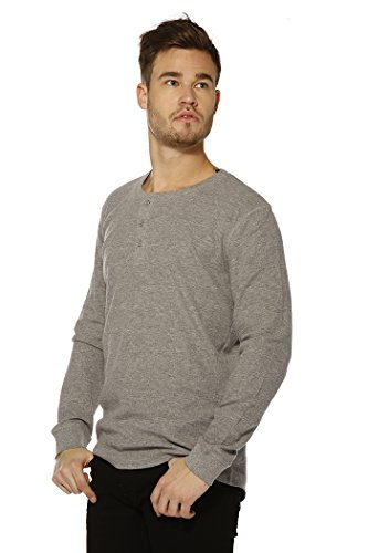 Dancer Light T-shirt (JACK & JONES Herren JORGEORGE Tee LS Grandad Langarmshirt, Grau (Light Grey Melange Fit:reg Fit), Small (S))