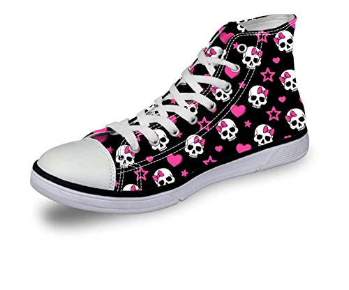 n Girls Hi Tops Canvas Flat Lace Up Plimsolls Trainers Shoes C0751AK New UK 2 = EU 35 ()