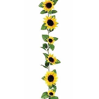 BeatlGem Floral & Craft – Guirnalda de Flores de Girasol de Seda en Amarillo de 1,82 m de Largo – 11 Flores – 7,62 cm – 12,7 cm de Diámetro