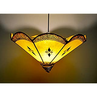 MAISON ANDALUZ Ceiling Moroccan Henna Lampshade - Wave - Yellow - D40 H 30 CM -