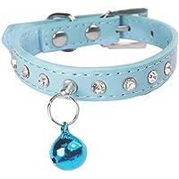 smileyuk diamante gato collar ajustable de seguridad con hebilla y Bell rojo...