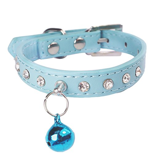 Sobotoo Adjustable Pet Dog Cat Collar Pu Leather Diamante Bling Cat Puppy Pet Collar Neck Rhinestone Necklace With Bell For Dog Cat Puppy Kitten (Blue)