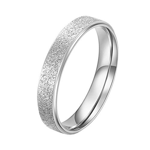PAURO Damen Ring aus Edelstahl Silber 4Mm Stapelbar Ehering Sandblast Finish Größe 49 - Großhandel Girls Fashion