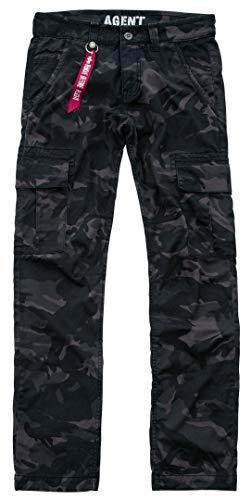 Alpha Industries Agent C Hose Schwarz Camouflage 34 Label Casual Pants