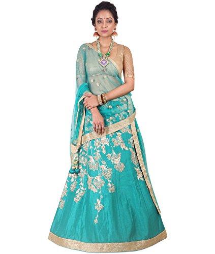 Indian Ethnicwear Bollywood Pakistani Wedding Teal Blue A-Line Lehenga Semi-stitched