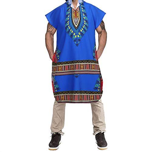KPILP Herrenmode Hipster Hiphop Afrikanischer Übergröße Dashiki Kapuzenpullover Zur Seite Fahren Langleine T-Shirt Pullover Bluse Oberteile(Blau, XL