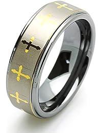 Bling Jewelry Diseño de cruz celta cepillada curvada del anillo de tungsteno de 8mm con grabado ciVmQgH17q