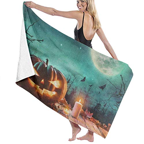 xcvgcxcvasda Serviette de bain, Halloween Pumpkin Wooden Full Moon Personalized Custom Women Men Quick Dry Lightweight Beach & Bath Blanket Great for Beach Trips, Pool, Swimming and Camping 31
