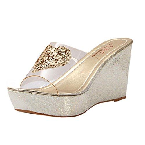 Webla Frauen arbeiten Sommer Strass Slope mit Flip-Flops Sandalen Slipper Schuhe (39, (Mädchen Schuhe Für Ferse Gold Riemchen)