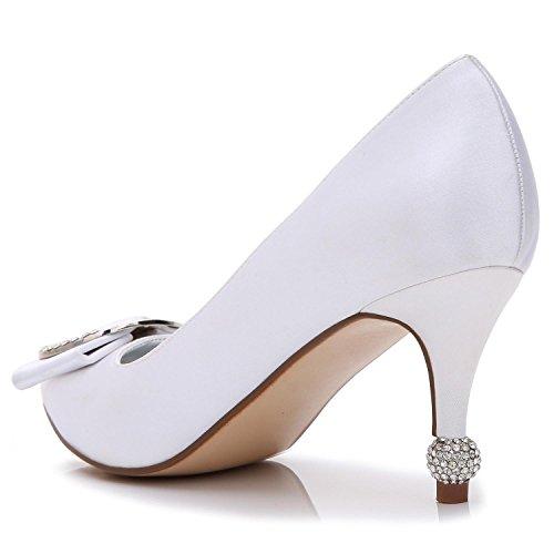 Fermer Grande YC Taille Pour Chaussures à Chaussures Made 17767 Custom Mariage L red Le Toe Tip Femmes Hauts Talons Pour Silk 41 automne Printemps B vwFwqxR