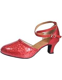 LHWY Sandalias Salón de Baile de Mujer Tango Salsa Latina Zapatos de Baile Zapatos de Lentejuelas
