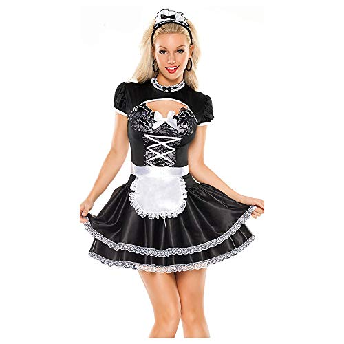 Halloween Black and White French Maid Kostüm, Maid Kostüm, Französisch Chef Uniform
