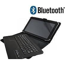"""Theoutlettablet® Funda con Teclado Bluetooth Extraíble para Tablet Bq Edison 1,2,3 10.1"""" Quad Core / Bq Aquaris E10 10.1"""" / Bq Tesla 10.1"""" / Bq Tesla 2 10.1"""" / Bq Livingstone 1,2,3,3n 10.1"""" / Fnac tablet 10.1"""" / Bq Aquaris M10 / Sony Xperia Z 2 / Lenovo A10-70 / ASUS ZenPad 10"""" / Samsung Galaxy Tab A 9.7"""" / Lenovo tab3 X70L - Color NEGRO"""
