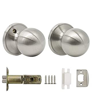 Probrico Stainless Steel Round Passage Keyless Door Lock Set Interior Door Knob Satin Nickel