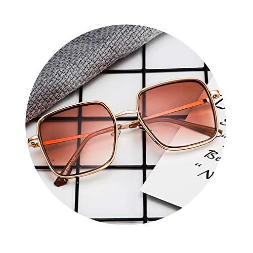 Lafeil Sonnenbrille Transparent Sonnenbrille Bunt Metallgestell Herren Damen Quadratisch Groß Fahrradbrille Braun