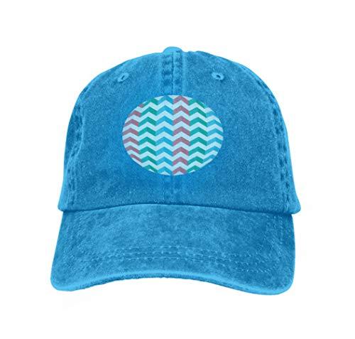 Xunulyn Vintage Cap Hat Adjustable Baseball Hat for Unisex Natural Zigzag Chevron multicoloblue Vertical Stripes Shadow Zigzag c Blue Tiger Chevron Print