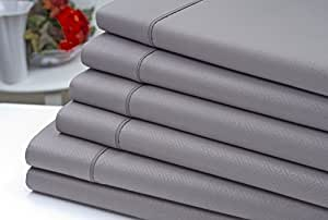 Signature Comfort 6pc Bed Sheet Sheet Set - Wrinkle Resistant - Deep Pocket (Queen, Grey) by Aslan Trade