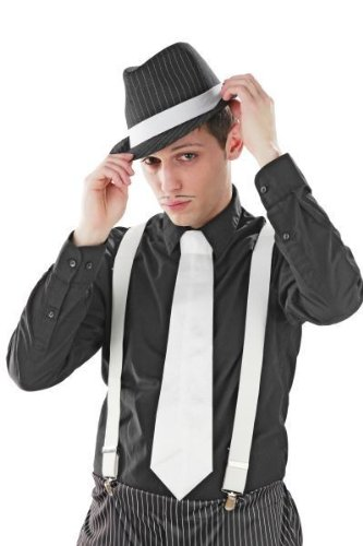 20er Jahre Mafia Hosenträger weiß weiss Kostüm Fasching weiße Hosen (Hosenträger Kostüm)
