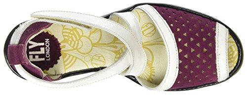FLY London Ynes648Fly, Sandales Compensées femme Multicolore - Multicolor (Magenta/Offwhite/Black)