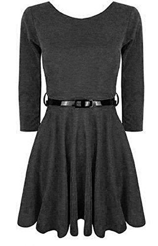 Momo Fashions - Jeunes Femmes manches 3/4 Robe patineuse EUR Taille 36-42 Charbon de bois