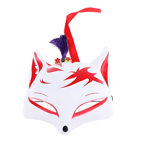 Fenteer Fox Make Halbe Gesichtsmaske Fuchs Japanische PVC Halloween Tier Maskerade Party - D