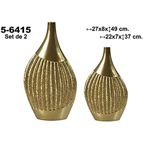 DonRegaloWeb - Set de 2 jarrones de cerámica de terracota decorado en color dorado