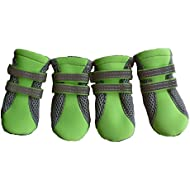 Vibrant Fellow Paw Protector Dog Boots Breathable and Skid-proof with Reflective Velcro Straps Bright Green Size Small and Medium Set of 4 (Size Small