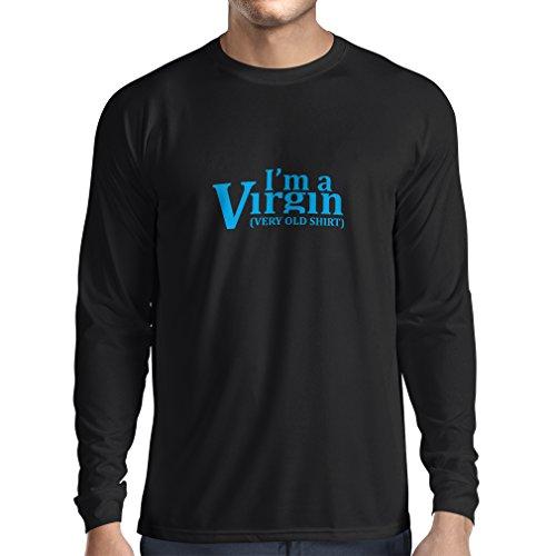lepni.me T-Shirt Manches Longues Homme Je suis Une Vierge, très Vieille Chemise. Humour Adulte, statut Sexy (XX-Large Noir Bleu)