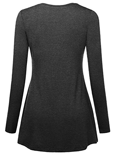 Slivexy Femme T-shirt Decontracte A Manches longues tunique ample Gris