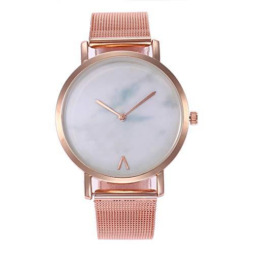 Liandd Heißer marmor Korn einfache Frauen Uhren Damen ultradünne edelstahlgewebe Band quarzuhr,Rose Gold -