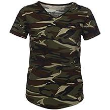 Winwintom Moda mujer blusa corta V - cuello de la manga de la camisa de camuflaje