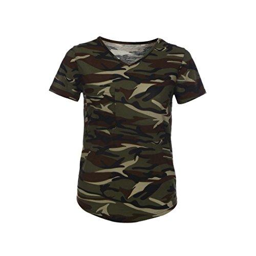 Winwintom Moda mujer blusa corta V - cuello de la manga de la camisa de camuflaje (XL)