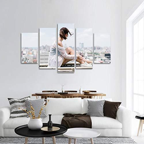 kuanmais Multi Panel Große Wandkunst Wohnzimmer Hd Leinwand Bilder Poster Malerei Druck 5 Stück Asiatische Seite Gesicht Schönheit Zurück, 12 × 16/24/32 Zoll (mit Rahmen)