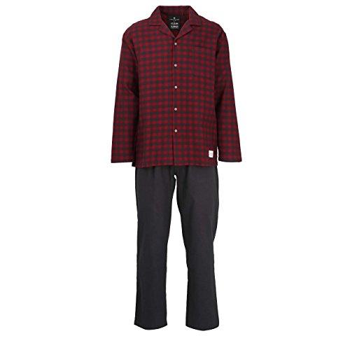 TOM TAILOR Herren Pyjama, langarm, Baumwolle, Flanell, rot, kariert, mit Eingri 54 (Kariertes Rot Pyjama)