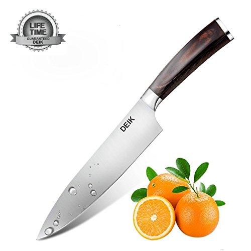 Deik Coltello da Cucina, Coltello da Chef di 20 cm, Acciaio Inox Tedesco al Carbonio con Impugnatura Ergonomica Brevettata
