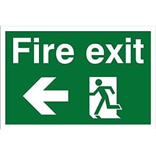 Fire Exit, Arrow Left. Safety Sign. 300mm x 200mm Rigid Plastic