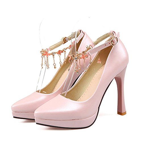 Adee Mesdames pointed-toe Boucle Solide brevet Chaussures Pompes en cuir Rose - rose