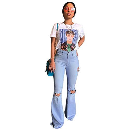 Sijux Frauen Ripped Flare Bell Bottom Cotton Hochelastische Jeans Hosen Retro Wide Leg Denim Pants,Blau,S (Cotton Leg Pants Wide)