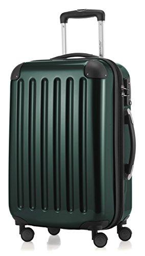 HAUPTSTADTKOFFER - Alex -  4 Doppel-Rollen Handgepäck Hartschalen-Koffer Trolley Rollkoffer Reisekoffer, TSA, 55 cm, 42 Liter, Waldgrün