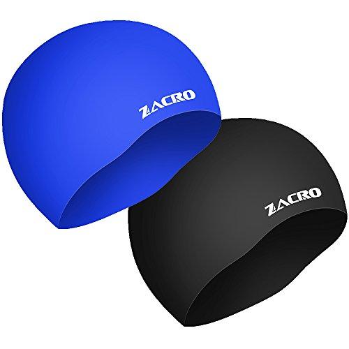 Zacro 2 Stück Schwimmkappe wasserdichte Silikon Schwimmkappe Schwarz und Blau